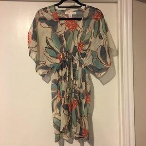 Anthro Lilka Silk Blend Floral Tie Front Kimono